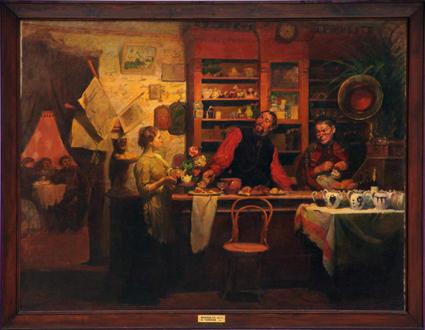 Кокель Алексей Афанасьевич В чайной. 1912 г. холст, масло, 184 х 245 КП - 6278